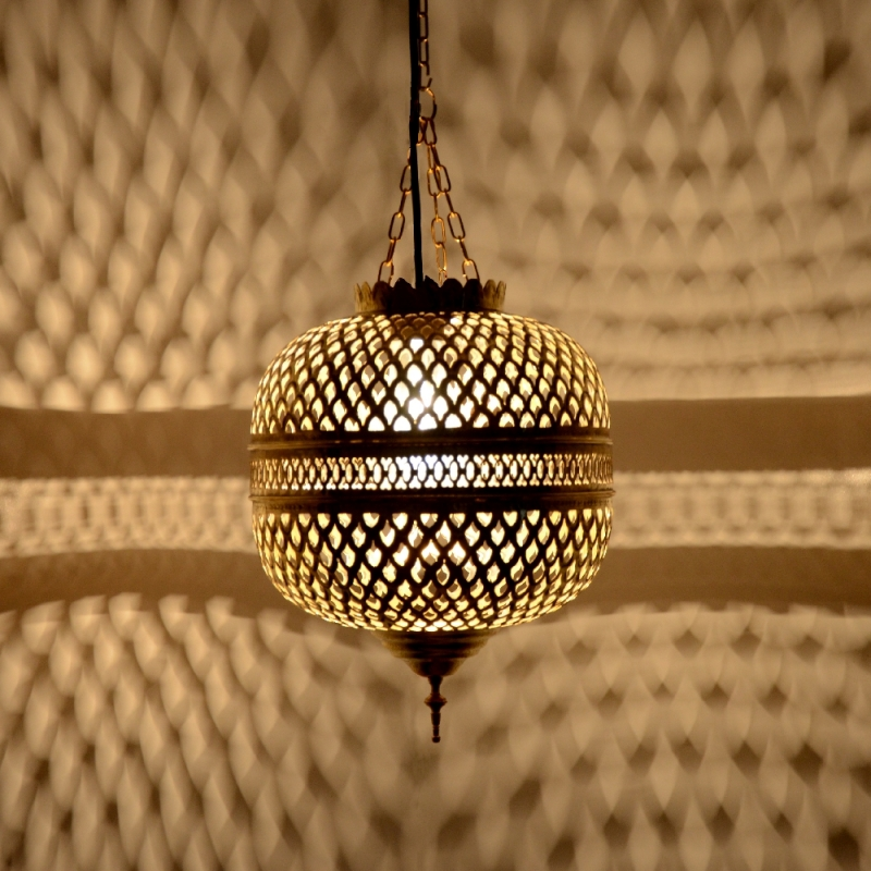 orientalische h ngeleuchte aus messing marokkanische lampe h ngelampe mhk h40cm ebay. Black Bedroom Furniture Sets. Home Design Ideas